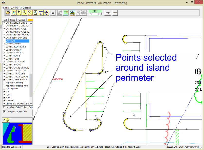 Perimeter Selection using CAD Import Module