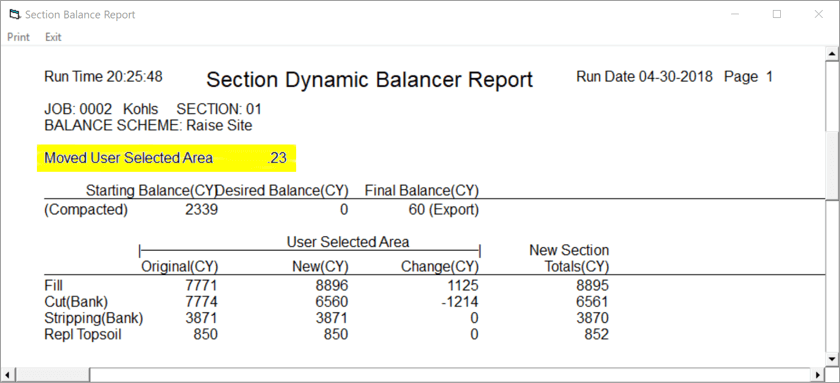 InSite SiteWork Dynamic Site Balancer Report